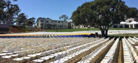 chairs lined up in rows for Commencement ceremonies