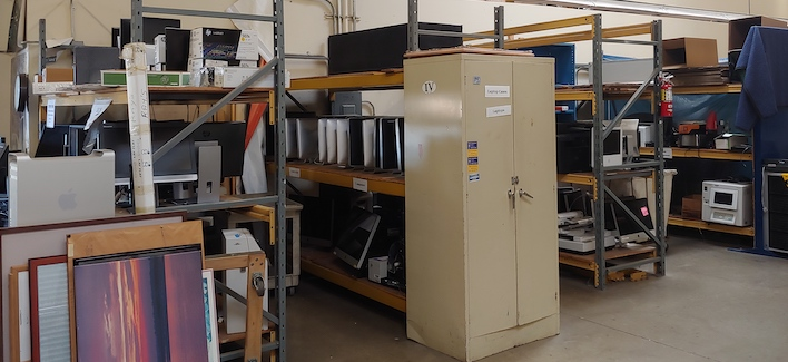 surplus equipment on shelves