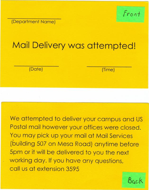 """Mail Delivery was attempted!"" card"